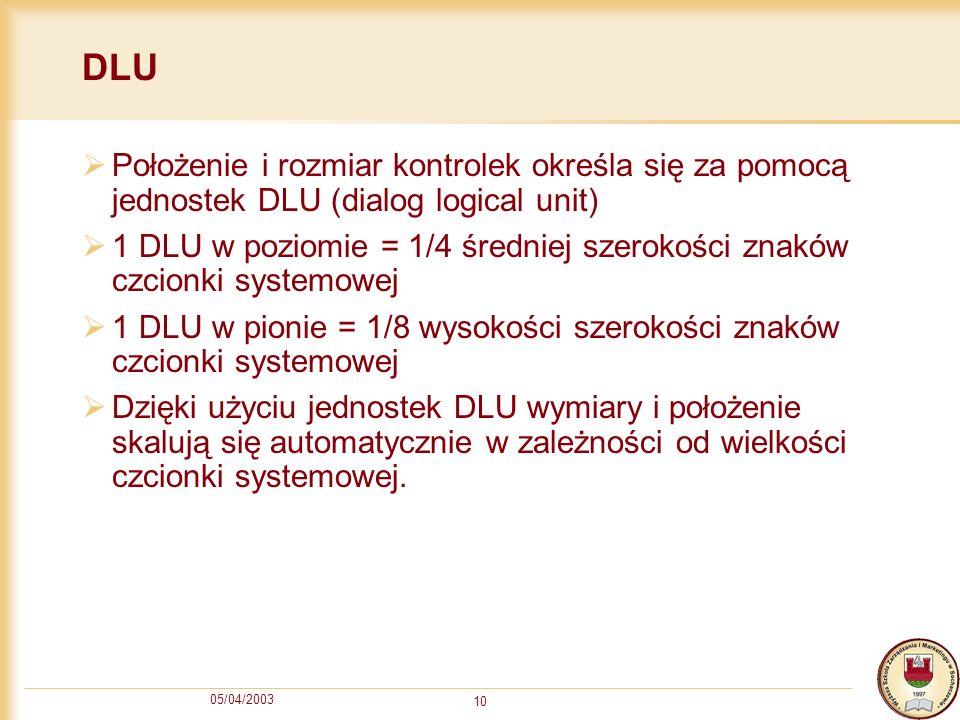 05/04/2003 10 DLU Położenie i rozmiar kontrolek określa się za pomocą jednostek DLU (dialog logical unit) 1 DLU w poziomie = 1/4 średniej szerokości z