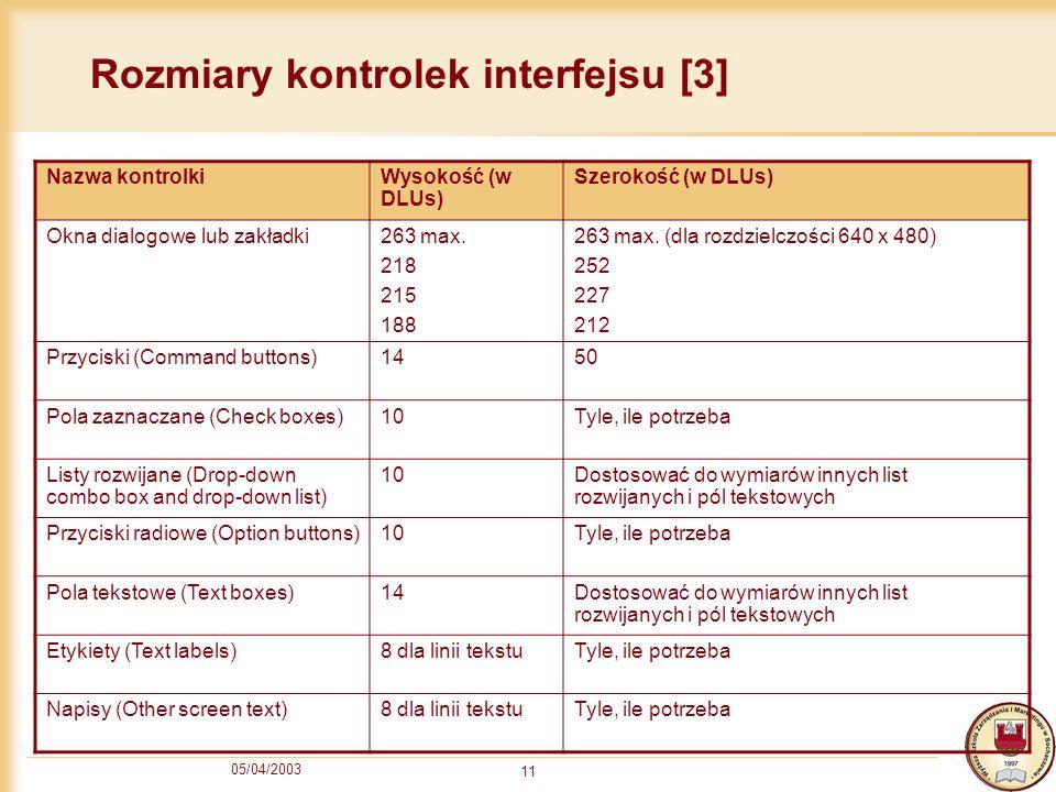 05/04/2003 11 Rozmiary kontrolek interfejsu [3] Nazwa kontrolkiWysokość (w DLUs) Szerokość (w DLUs) Okna dialogowe lub zakładki263 max. 218 215 188 26