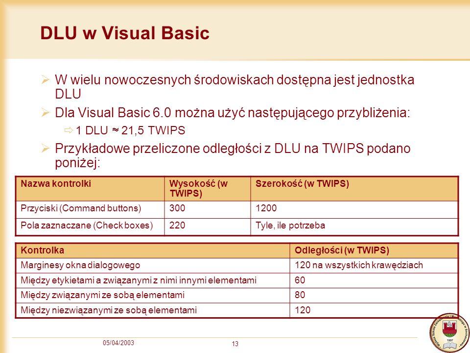 05/04/2003 13 DLU w Visual Basic W wielu nowoczesnych środowiskach dostępna jest jednostka DLU Dla Visual Basic 6.0 można użyć następującego przybliże