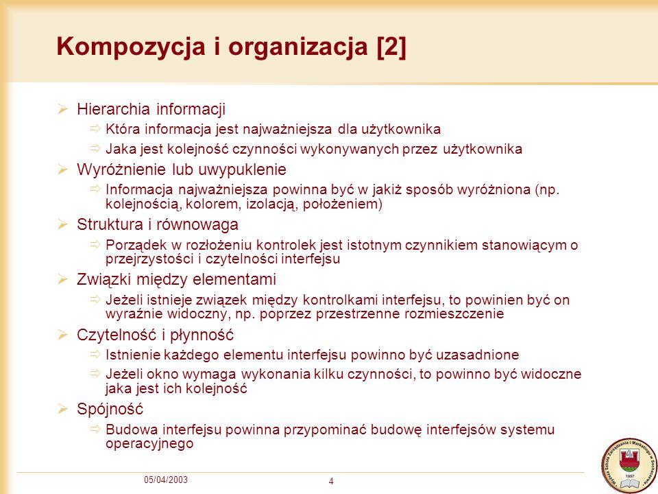 05/04/2003 4 Kompozycja i organizacja [2] Hierarchia informacji Która informacja jest najważniejsza dla użytkownika Jaka jest kolejność czynności wyko