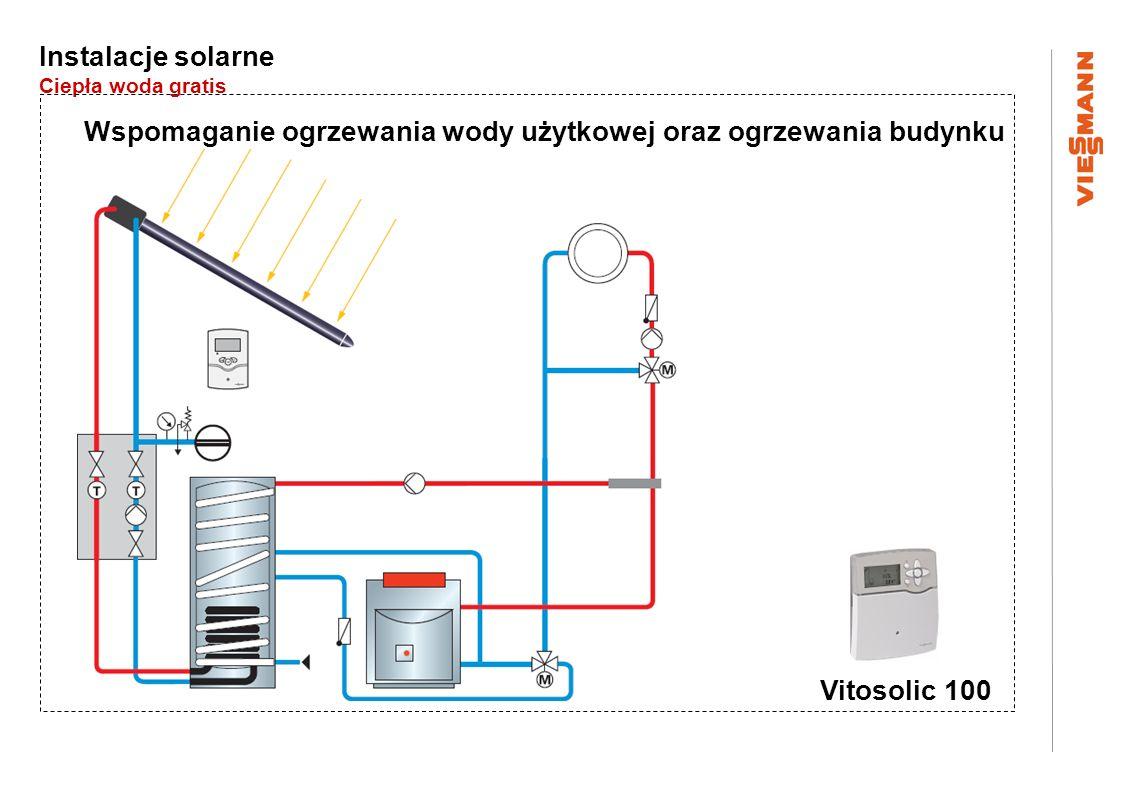 Instalacje solarne Ciepła woda gratis Wspomaganie ogrzewania wody użytkowej oraz ogrzewania budynku Vitosolic 100