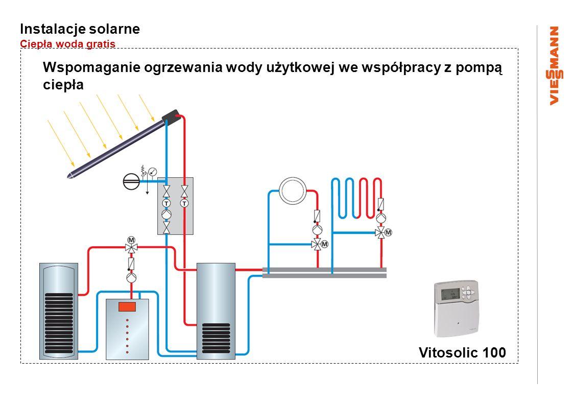 Instalacje solarne Ciepła woda gratis Wspomaganie ogrzewania wody użytkowej we współpracy z pompą ciepła Vitosolic 100