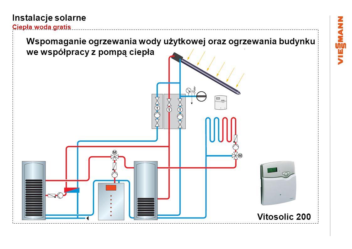 Instalacje solarne Ciepła woda gratis Wspomaganie ogrzewania wody użytkowej oraz ogrzewania budynku we współpracy z pompą ciepła Vitosolic 200