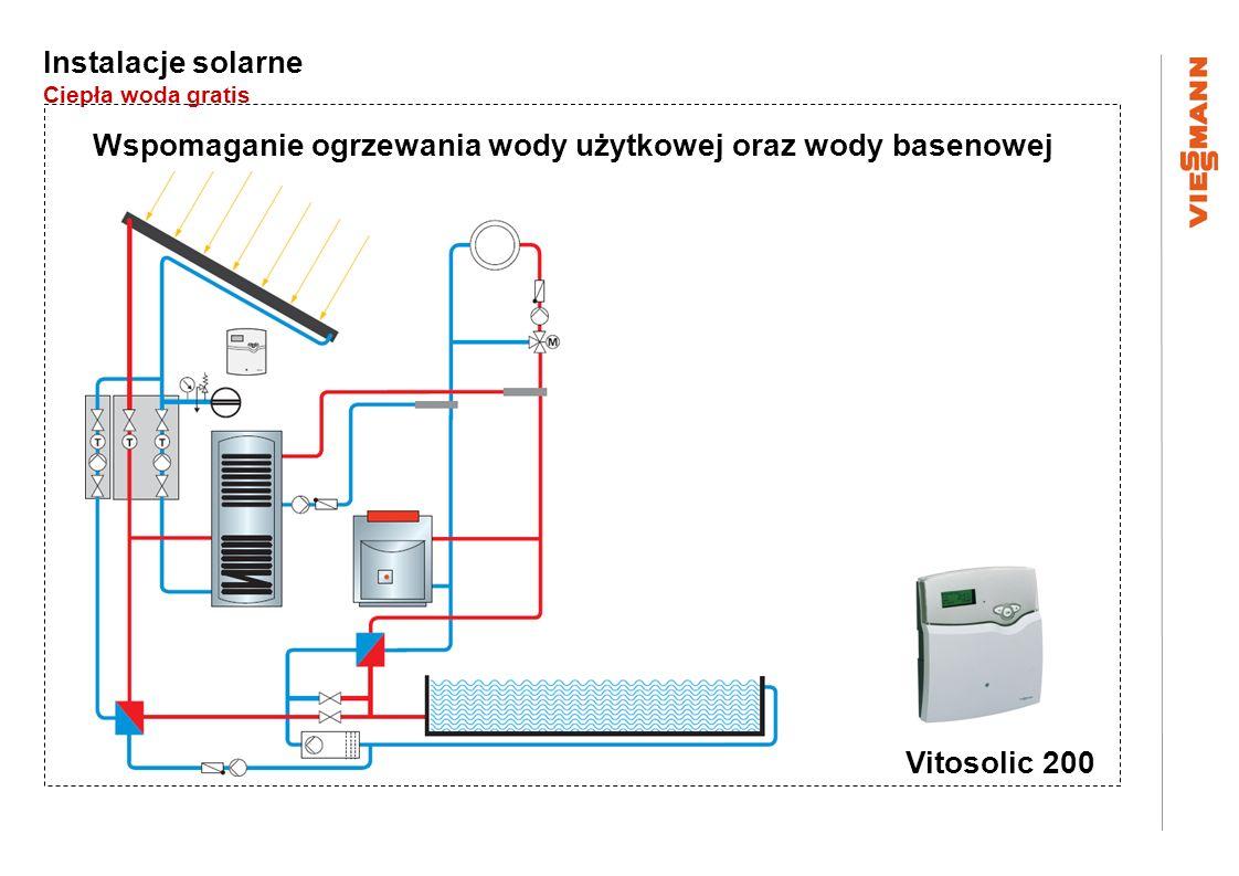 Instalacje solarne Ciepła woda gratis Wspomaganie ogrzewania wody użytkowej oraz wody basenowej Vitosolic 200