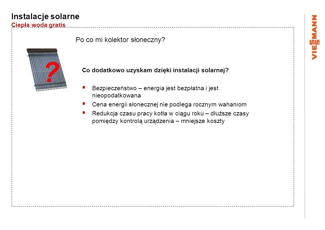 Instalacje solarne Ciepła woda gratis Po co mi kolektor słoneczny? Co dodatkowo uzyskam dzięki instalacji solarnej? Bezpieczeństwo – energia jest bezp