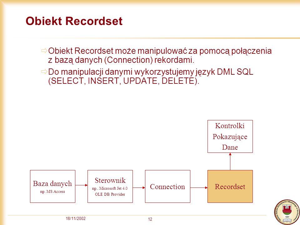 18/11/2002 12 Obiekt Recordset Obiekt Recordset może manipulować za pomocą połączenia z bazą danych (Connection) rekordami.