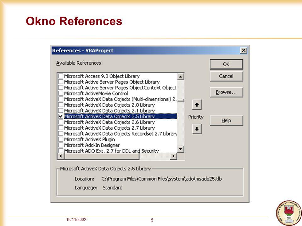 18/11/2002 5 Okno References