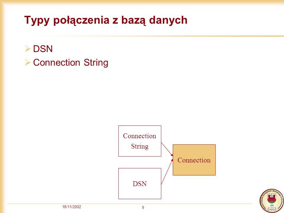 18/11/2002 10 Łączenie z bazą danych – metoda Open Skladnia metody Open obiektu Connection: Open connection_string,userid,password,options connection_string – definicja połączenia: Przez Connection String np.