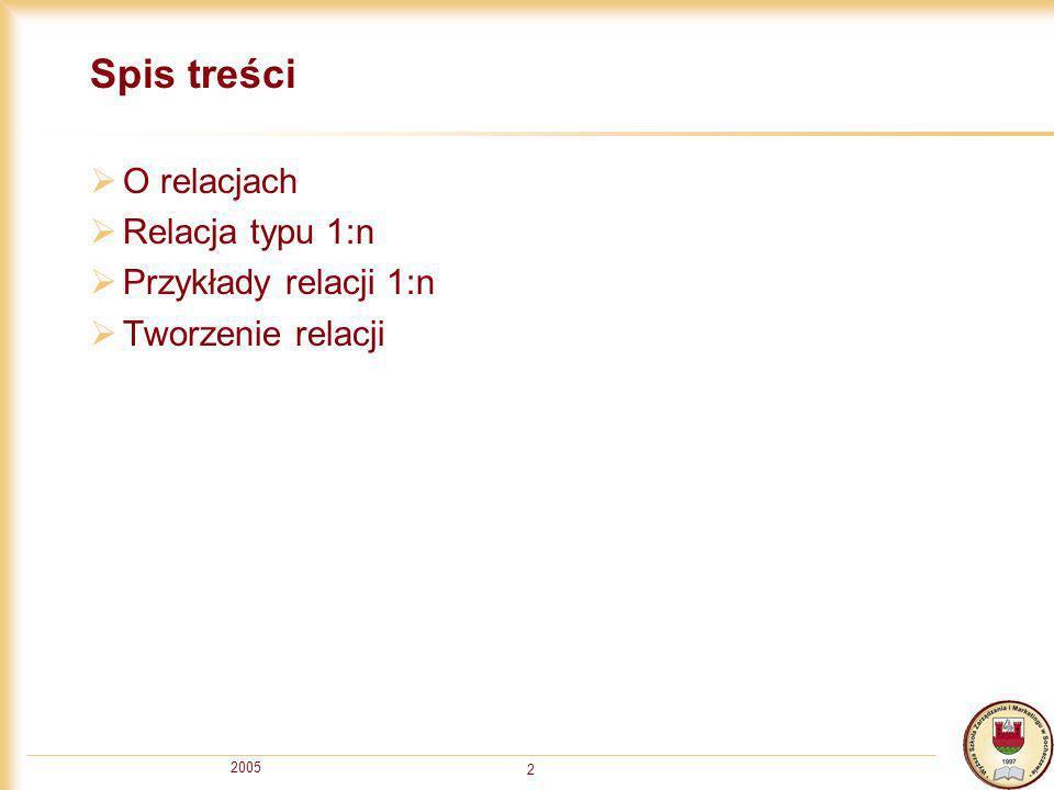 2005 3 Wstęp Relacja określa związek między rekordami dwóch tabel lub tej samej tabeli Wyróżnia się relacje typu 1:1 (jeden do jednego) 1:n, 1: (jeden do wielu) n:n, : (wiele do wielu) W procesie normalizacji uzyskamy zawsze relacje typu 1:n Relacje pozwalają zapewnić integralność (zgodność, poprawność) danych