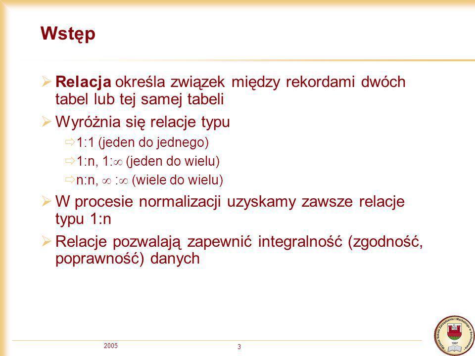 2005 3 Wstęp Relacja określa związek między rekordami dwóch tabel lub tej samej tabeli Wyróżnia się relacje typu 1:1 (jeden do jednego) 1:n, 1: (jeden
