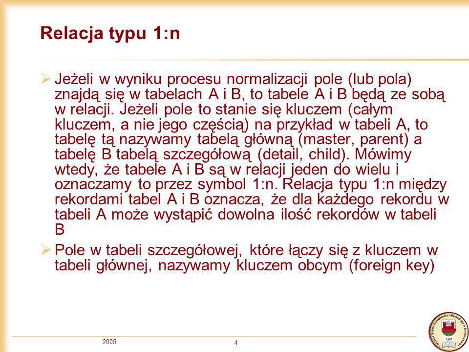 2005 4 Relacja typu 1:n Jeżeli w wyniku procesu normalizacji pole (lub pola) znajdą się w tabelach A i B, to tabele A i B będą ze sobą w relacji. Jeże