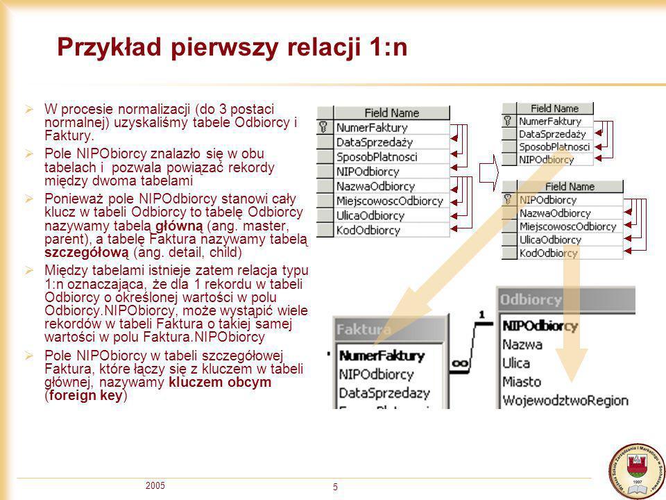 2005 6 Przykład drugi relacji 1:n W procesie normalizacji (do 2 postaci normalnej) uzyskaliśmy między innymi tabele PozycjeFaktury i Towar.