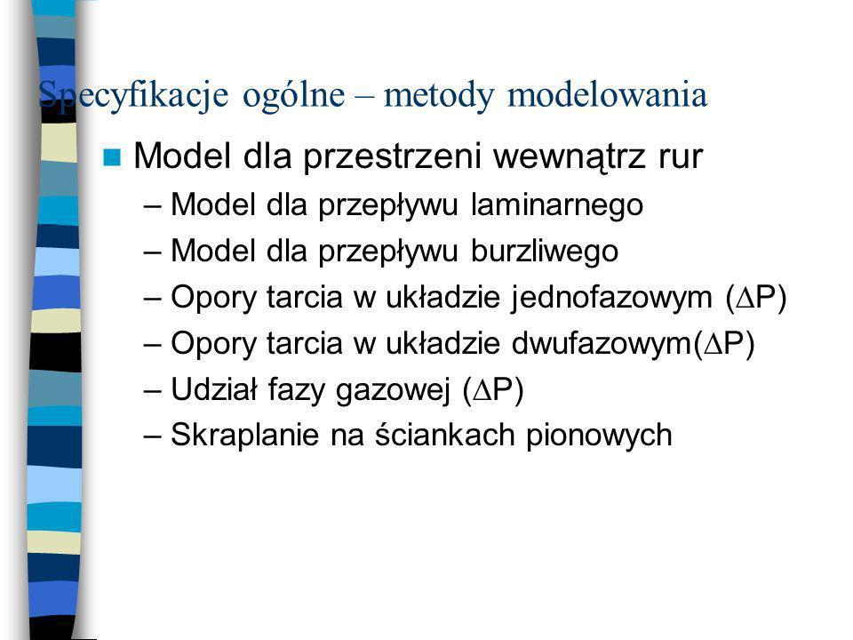Specyfikacje ogólne – metody modelowania Model dla przestrzeni wewnątrz rur –Model dla przepływu laminarnego –Model dla przepływu burzliwego –Opory ta