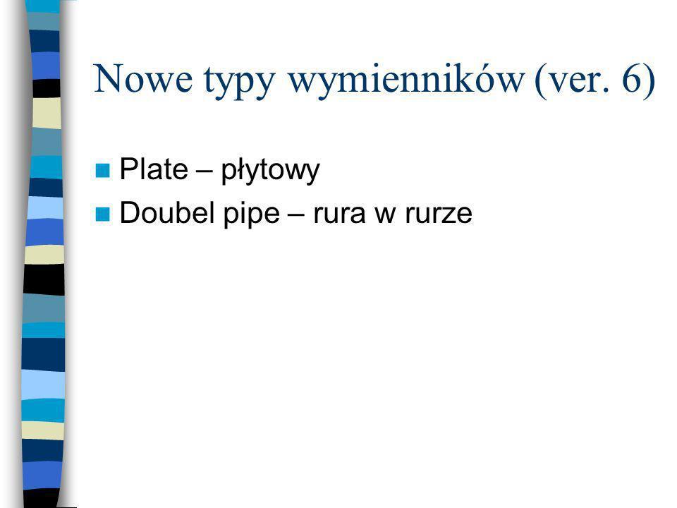 Nowe typy wymienników (ver. 6) Plate – płytowy Doubel pipe – rura w rurze