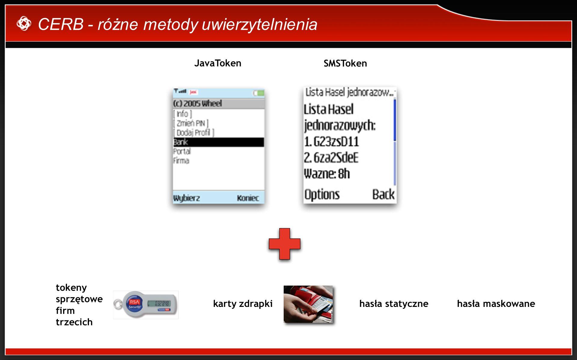 CERB - różne metody uwierzytelnienia JavaToken SMSToken hasła statycznekarty zdrapki tokeny sprzętowe firm trzecich hasła maskowane