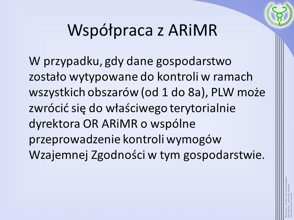Współpraca z ARiMR W przypadku, gdy dane gospodarstwo zostało wytypowane do kontroli w ramach wszystkich obszarów (od 1 do 8a), PLW może zwrócić się d