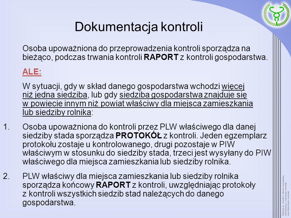 Dokumentacja kontroli Osoba upoważniona do przeprowadzenia kontroli sporządza na bieżąco, podczas trwania kontroli RAPORT z kontroli gospodarstwa. ALE