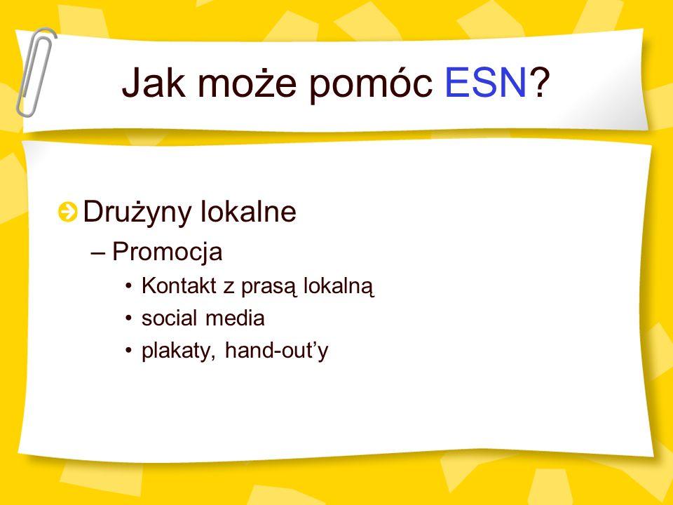 Jak może pomóc ESN? Drużyny lokalne –Promocja Kontakt z prasą lokalną social media plakaty, hand-outy