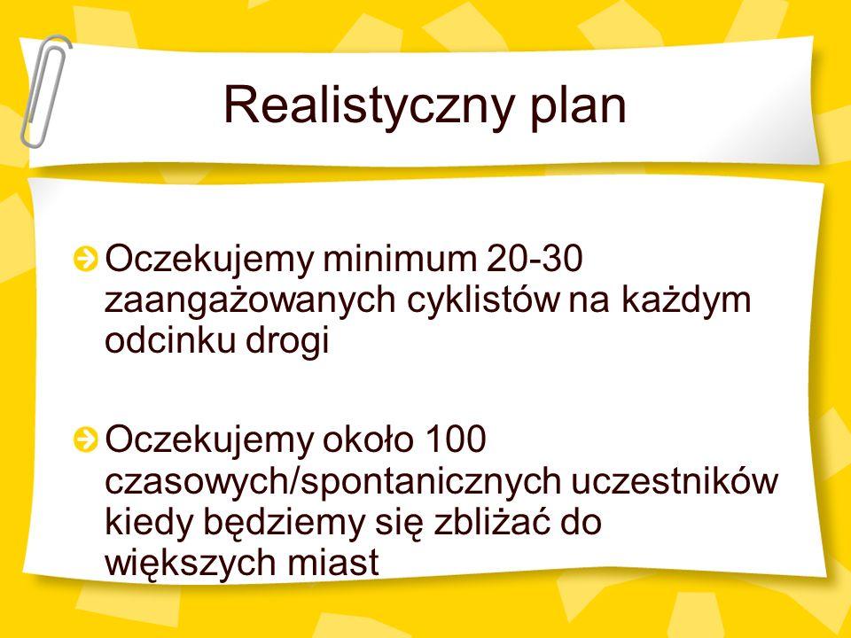 Realistyczny plan Oczekujemy minimum 20-30 zaangażowanych cyklistów na każdym odcinku drogi Oczekujemy około 100 czasowych/spontanicznych uczestników