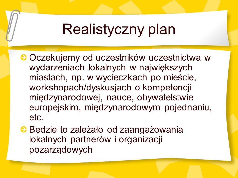 Realistyczny plan Oczekujemy od uczestników uczestnictwa w wydarzeniach lokalnych w największych miastach, np. w wycieczkach po mieście, workshopach/d