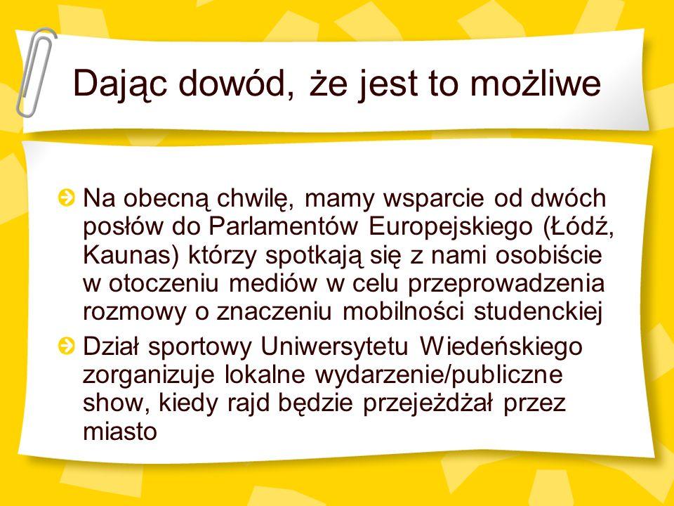 Dając dowód, że jest to możliwe Na obecną chwilę, mamy wsparcie od dwóch posłów do Parlamentów Europejskiego (Łódź, Kaunas) którzy spotkają się z nami osobiście w otoczeniu mediów w celu przeprowadzenia rozmowy o znaczeniu mobilności studenckiej Dział sportowy Uniwersytetu Wiedeńskiego zorganizuje lokalne wydarzenie/publiczne show, kiedy rajd będzie przejeżdżał przez miasto