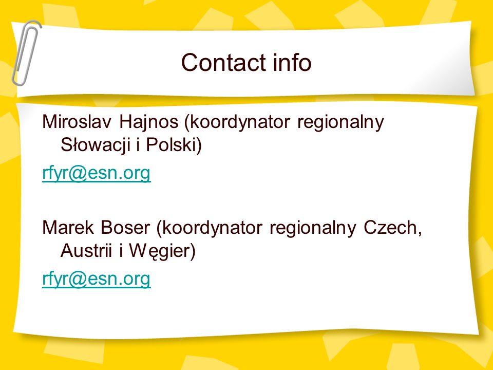 Contact info Miroslav Hajnos (koordynator regionalny Słowacji i Polski) rfyr@esn.org Marek Boser (koordynator regionalny Czech, Austrii i Węgier) rfyr@esn.org