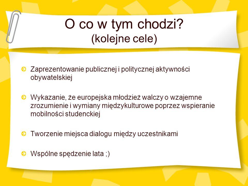 O co w tym chodzi? (kolejne cele) Zaprezentowanie publicznej i politycznej aktywności obywatelskiej Wykazanie, że europejska młodzież walczy o wzajemn