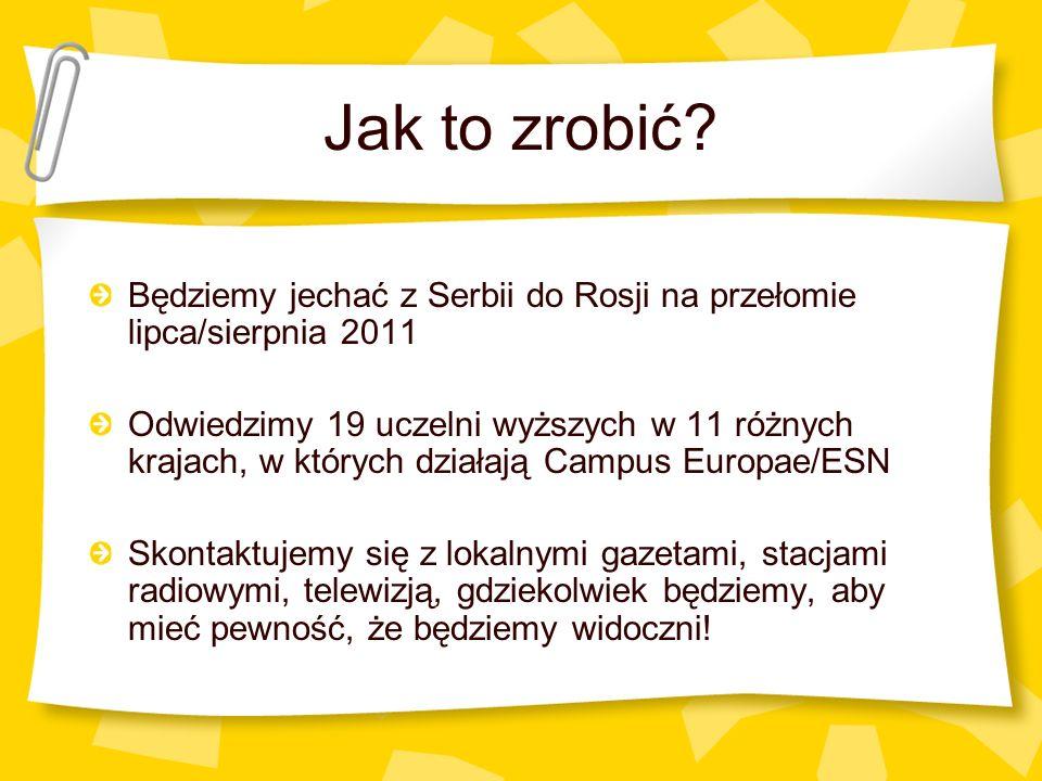 Jak to zrobić? Będziemy jechać z Serbii do Rosji na przełomie lipca/sierpnia 2011 Odwiedzimy 19 uczelni wyższych w 11 różnych krajach, w których dział