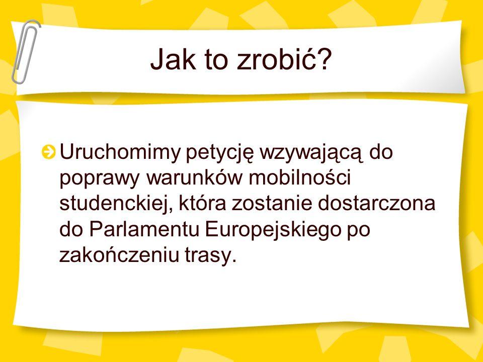 Jak to zrobić? Uruchomimy petycję wzywającą do poprawy warunków mobilności studenckiej, która zostanie dostarczona do Parlamentu Europejskiego po zako