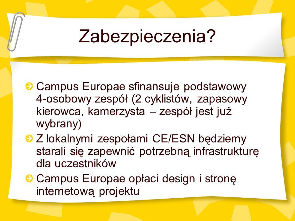 Zabezpieczenia? Campus Europae sfinansuje podstawowy 4-osobowy zespół (2 cyklistów, zapasowy kierowca, kamerzysta – zespół jest już wybrany) Z lokalny