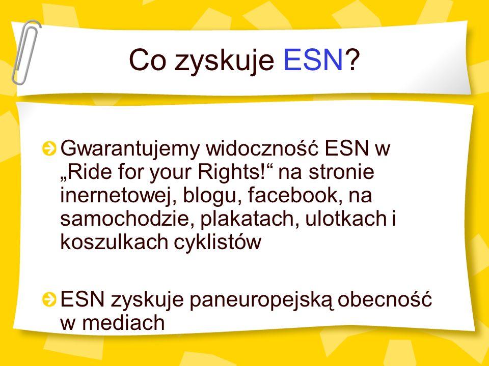 Co zyskuje ESN? Gwarantujemy widoczność ESN w Ride for your Rights! na stronie inernetowej, blogu, facebook, na samochodzie, plakatach, ulotkach i kos