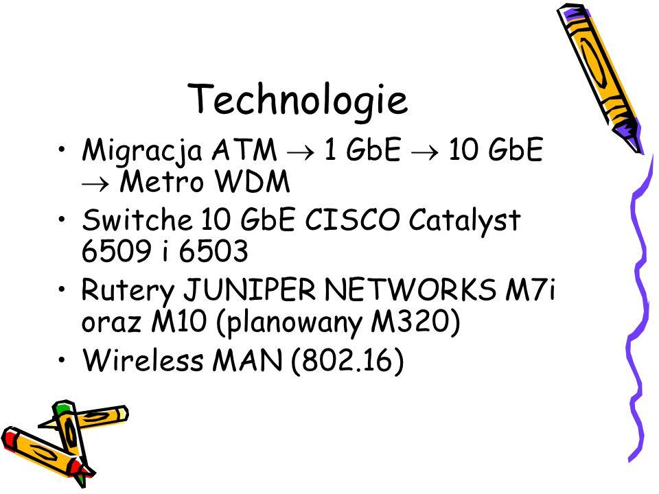 Technologie Migracja ATM 1 GbE 10 GbE Metro WDM Switche 10 GbE CISCO Catalyst 6509 i 6503 Rutery JUNIPER NETWORKS M7i oraz M10 (planowany M320) Wirele