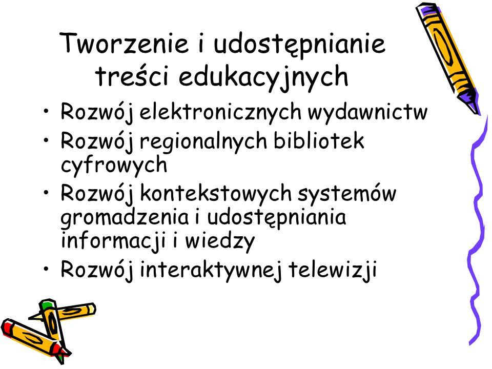 Tworzenie i udostępnianie treści edukacyjnych Rozwój elektronicznych wydawnictw Rozwój regionalnych bibliotek cyfrowych Rozwój kontekstowych systemów