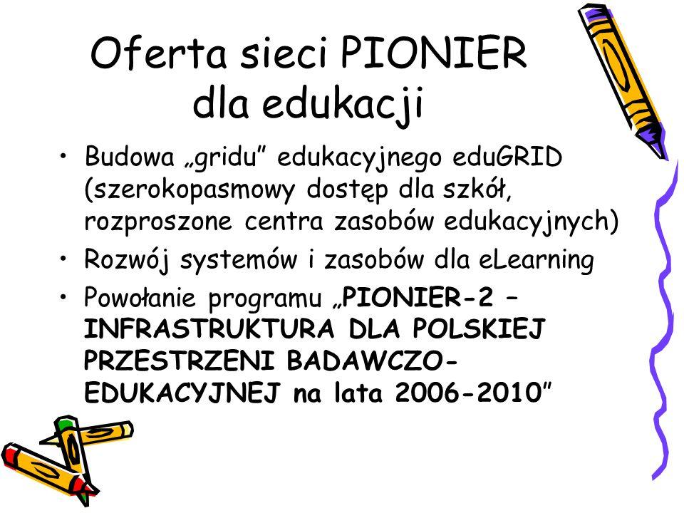Oferta sieci PIONIER dla edukacji Budowa gridu edukacyjnego eduGRID (szerokopasmowy dostęp dla szkół, rozproszone centra zasobów edukacyjnych) Rozwój