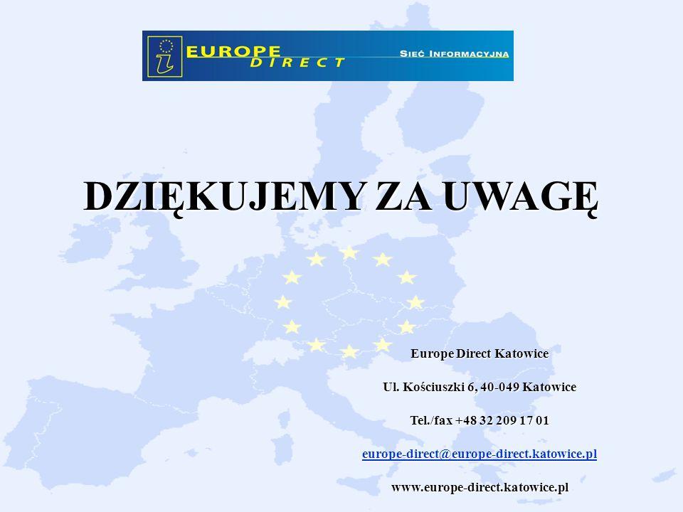 DZIĘKUJEMY ZA UWAGĘ Europe Direct Katowice Ul. Kościuszki 6, 40-049 Katowice Tel./fax +48 32 209 17 01 europe-direct@europe-direct.katowice.pl www.eur