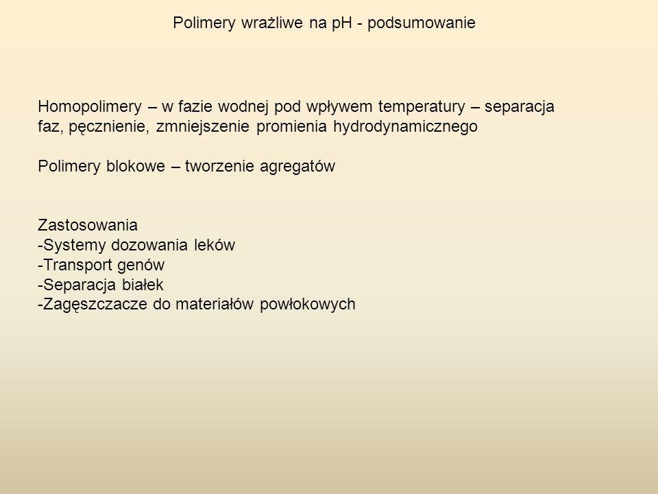 Polimery wrażliwe na pH - podsumowanie Homopolimery – w fazie wodnej pod wpływem temperatury – separacja faz, pęcznienie, zmniejszenie promienia hydro