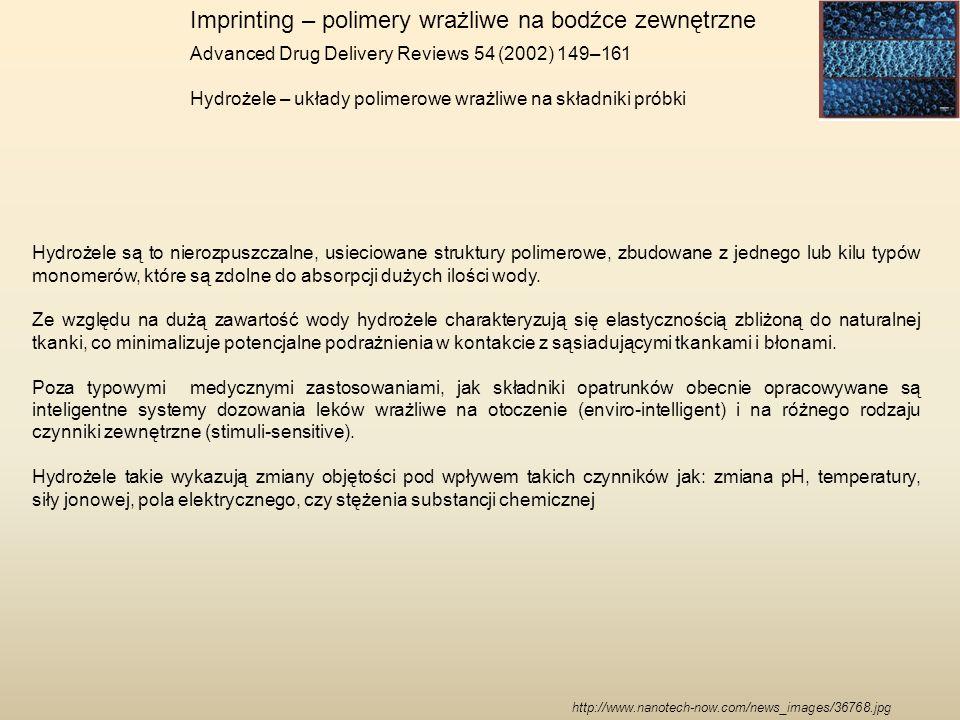 Imprinting – polimery wrażliwe na bodźce zewnętrzne Advanced Drug Delivery Reviews 54 (2002) 149–161 Hydrożele – układy polimerowe wrażliwe na składni