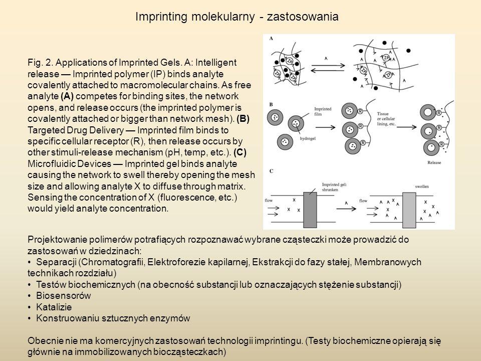 Imprinting molekularny - zastosowania Projektowanie polimerów potrafiących rozpoznawać wybrane cząsteczki może prowadzić do zastosowań w dziedzinach:
