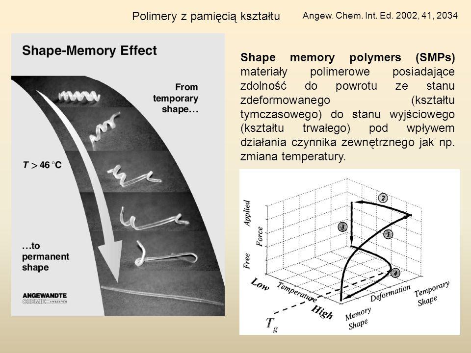 Polimery z pamięcią kształtu Angew. Chem. Int. Ed. 2002, 41, 2034 Shape memory polymers (SMPs) materiały polimerowe posiadające zdolność do powrotu ze