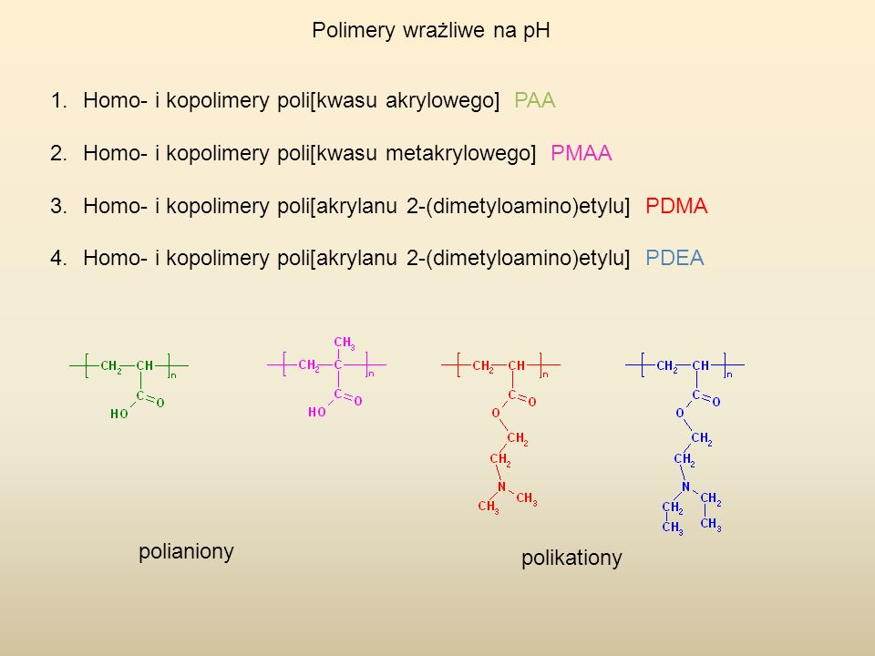 Polimery wrażliwe na pH - Homo- i kopolimery poli[kwasu akrylowego] PAA PS-b-PAA is one of the earliest and most extensively studied pH-responsive PAA related polymeric system.