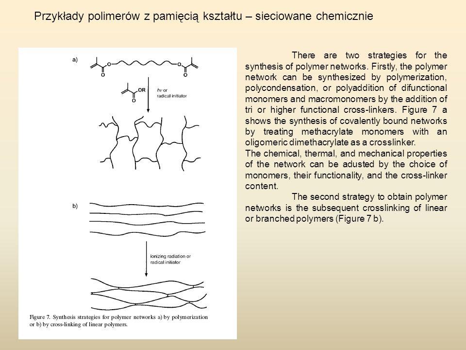 Przykłady polimerów z pamięcią kształtu – sieciowane chemicznie There are two strategies for the synthesis of polymer networks. Firstly, the polymer n