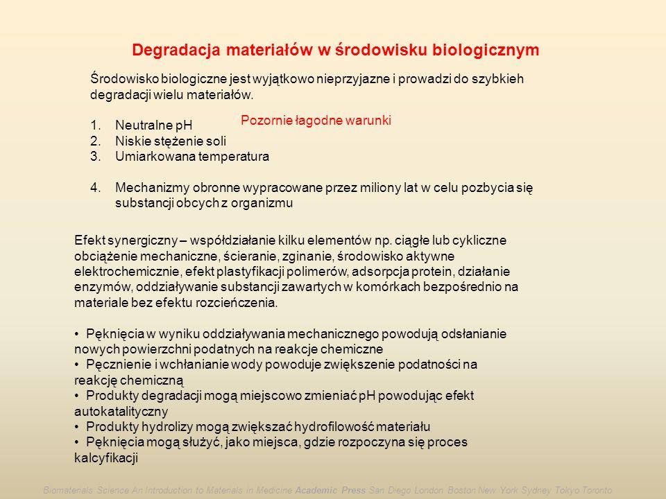 Degradacja materiałów w środowisku biologicznym Środowisko biologiczne jest wyjątkowo nieprzyjazne i prowadzi do szybkieh degradacji wielu materiałów.