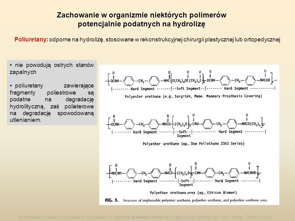Zachowanie w organizmie niektórych polimerów potencjalnie podatnych na hydrolizę Poliuretany: odporne na hydrolizę, stosowane w rekonstrukcyjnej chiru