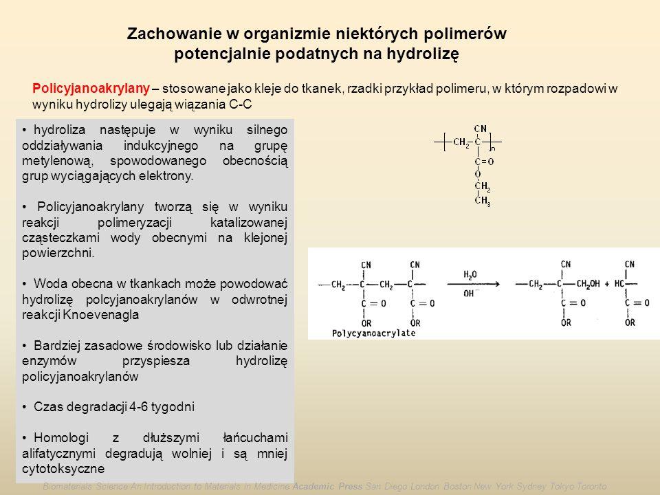 Zachowanie w organizmie niektórych polimerów potencjalnie podatnych na hydrolizę Policyjanoakrylany – stosowane jako kleje do tkanek, rzadki przykład