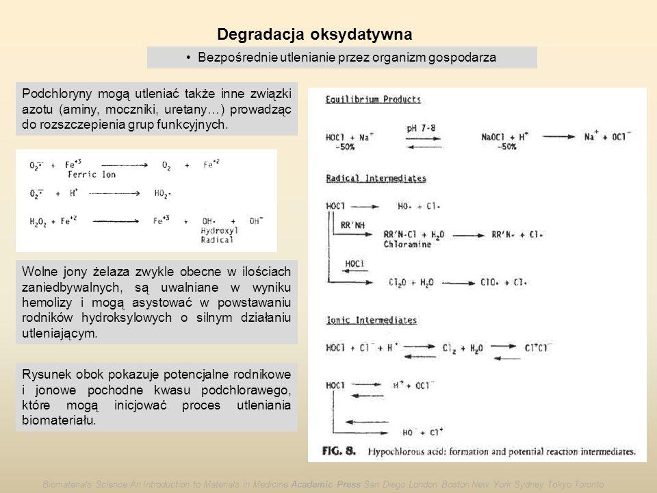 Degradacja oksydatywna Bezpośrednie utlenianie przez organizm gospodarza Podchloryny mogą utleniać także inne związki azotu (aminy, moczniki, uretany…