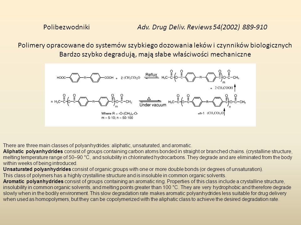 Polibezwodniki Adv. Drug Deliv. Reviews 54(2002) 889-910 Polimery opracowane do systemów szybkiego dozowania leków i czynników biologicznych Bardzo sz