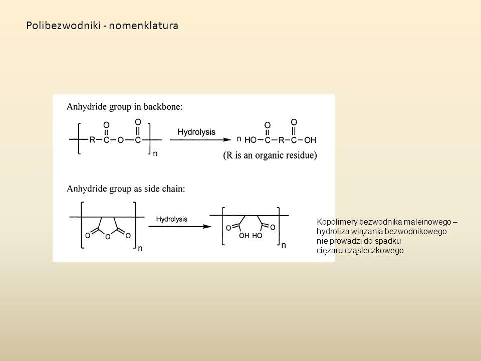 Polibezwodniki - nomenklatura Kopolimery bezwodnika maleinowego – hydroliza wiązania bezwodnikowego nie prowadzi do spadku ciężaru cząsteczkowego
