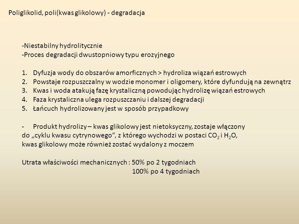 Poliglikolid, poli(kwas glikolowy) - degradacja -Niestabilny hydrolitycznie -Proces degradacji dwustopniowy typu erozyjnego 1.Dyfuzja wody do obszarów