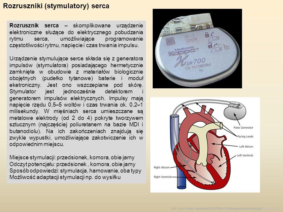 Rozruszniki (stymulatory) serca Rozrusznik serca – skomplikowane urządzenie elektroniczne służące do elektrycznego pobudzania rytmu serca, umożliwiają