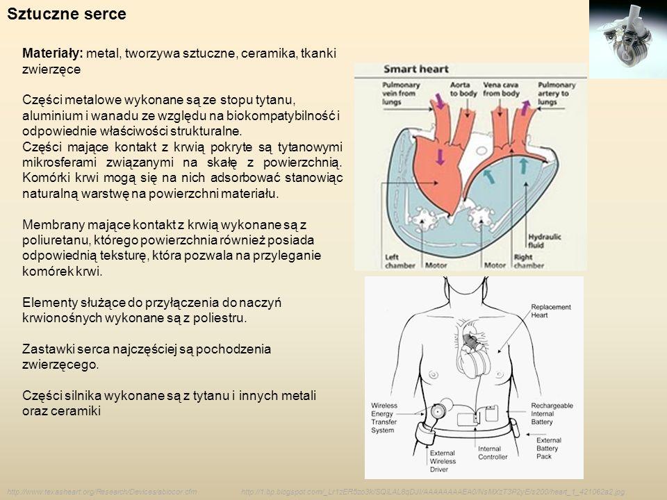 Sztuczne serce Materiały: metal, tworzywa sztuczne, ceramika, tkanki zwierzęce Części metalowe wykonane są ze stopu tytanu, aluminium i wanadu ze wzgl